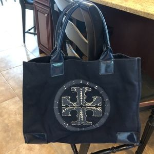 TORY BURCH CANVAS/PATENT LEATHER TOTE BAG